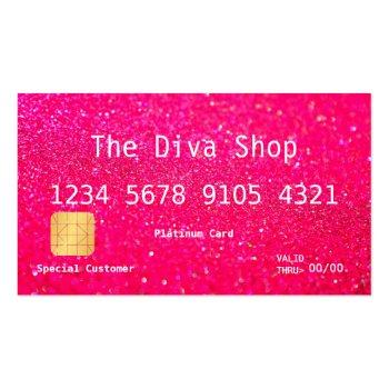 Small Business Card | Glitter Credit Card Pink Front View