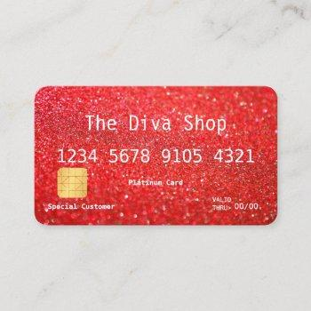 business card | glitter credit card red