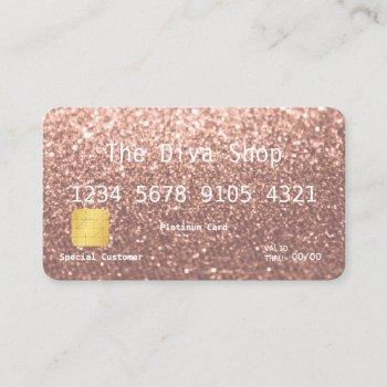 business card | glitter credit card rose gold