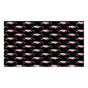 Small Business Card | Pink Flowers With Black Background Back View