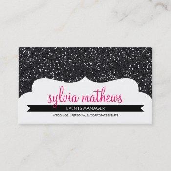 business card stylish glitter sparkle black pink
