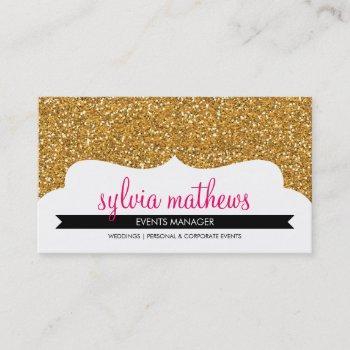 business card stylish glitter sparkle gold pink