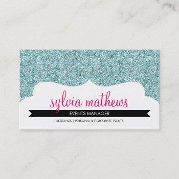 business card stylish glitter sparkle pale blue