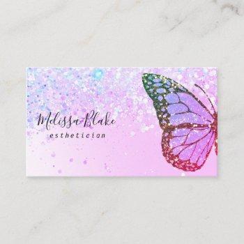 butterfly logo on faux glitter design business card