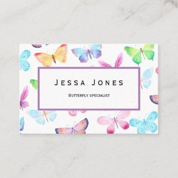 butterfly watercolor  business card