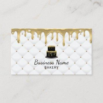 cake bakery gold drip icing luxury white business card