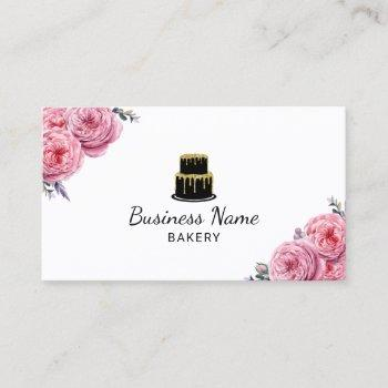 cake bakery pastry chef elegant floral business card