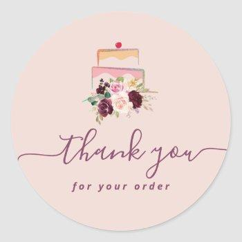 cakery floral thank you classic round sticker