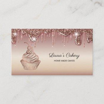 cakes & sweets cupcake home bakery dripping gold business card
