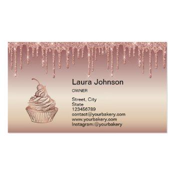 Small Cakes & Sweets Cupcake Home Bakery Dripping Gold Business Card Back View