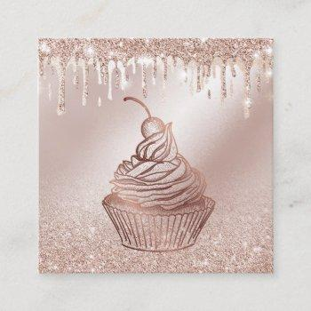 cakes & sweets cupcake home bakery dripping gold square business card