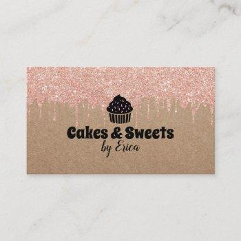 cakes & sweets cupcake home bakery rustic kraft business card