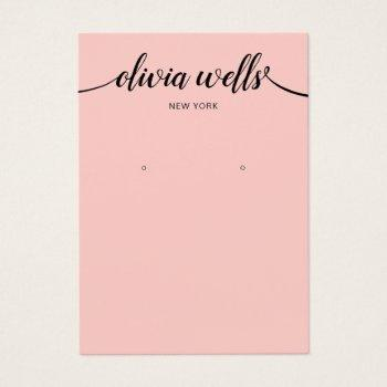 calligraphy blush pink earring display card