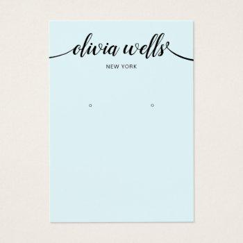 calligraphy light blue earring display card