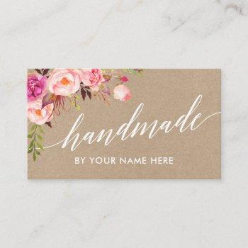calligraphy pink floral hand made kraft style business card
