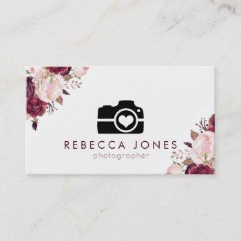 camera and watercolor flowers business card