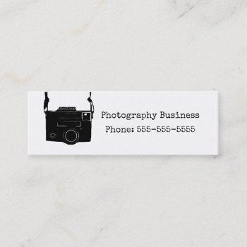 camera business card, black retro photography mini business card