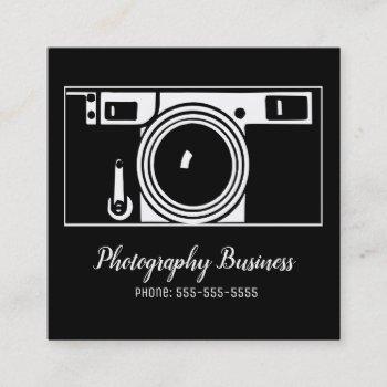 camera business cards, retro classic square business card