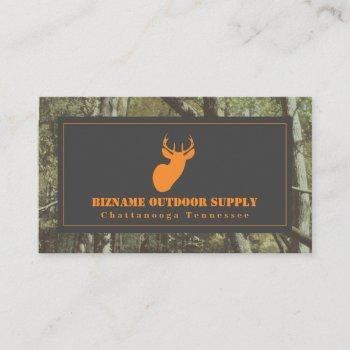 camouflage + orange deer outdoor retail business card