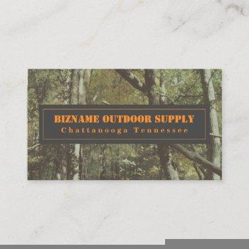 camouflage + orange outdoor retail business card