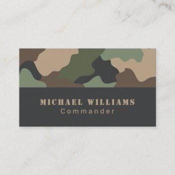 camouflage woodland camo khaki tan black monogram business card