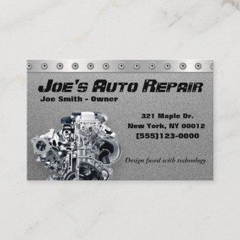 car auto mechanic repair motor service business card