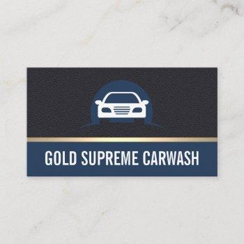 car cleaning gold premium leather business card