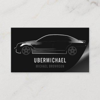 car driver black auto business card