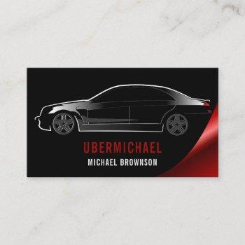 car driver black burgundy auto repair rent business card