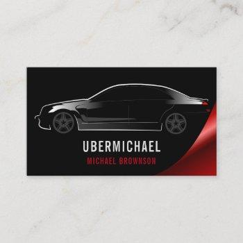 car driver black red auto repair rent business card