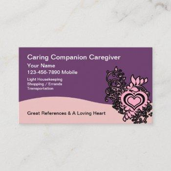 caregiver heart  floral design business card