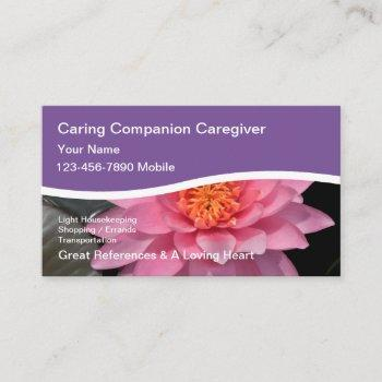 caregiver water lily business cards