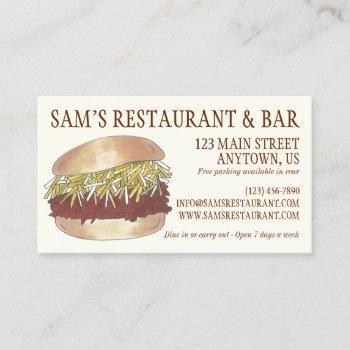 carolina bbq pulled pork barbecue sandwich chef business card