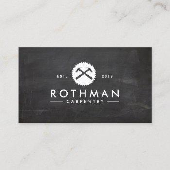 carpentry hammer and saw construction logo 2 business card