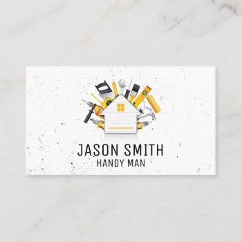 carpentry tools and home icon business card
