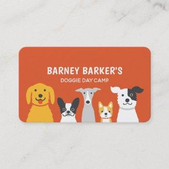 cartoon dogs cute and colorful dog sitter pet care business card