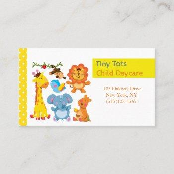cartoon jungle animals child daycare service business card