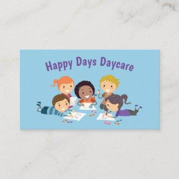 cartoon kids coloring child daycare services business card