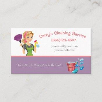 cartoon maid cleaning service business card