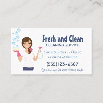 cartoon maid house cleaning service business card