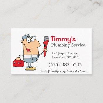 cartoon plumber man plumbing service business card