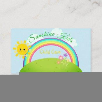 cartoon rainbow and sunshine child daycare business card