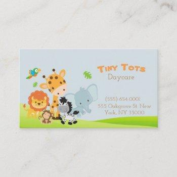 cartoon safari animal daycare childcare business card