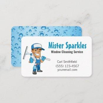 cartoon window squeegee cleaning service guy business card