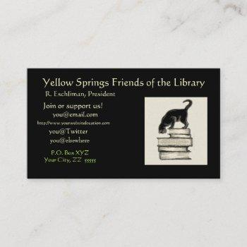 cat on books  regular business card
