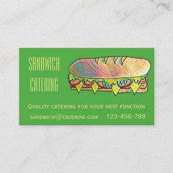 catering business for sandwich lunch functions business card
