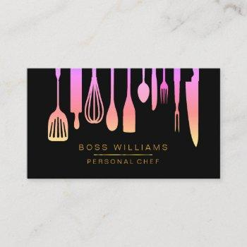 catering personal chef kitchen utensils business card
