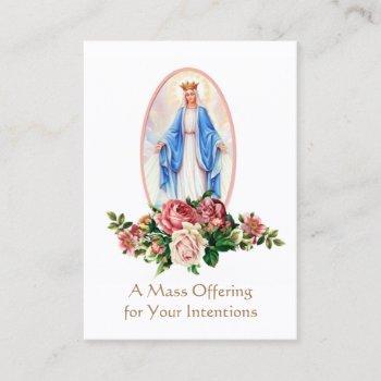 catholic mass offering  virgin mary holy cards