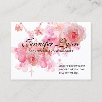 catholic rosary pink roses religious floral business card