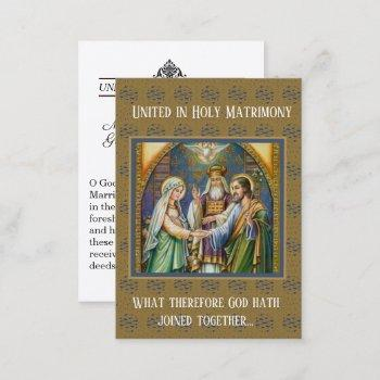 catholic wedding favor holy card bride groom